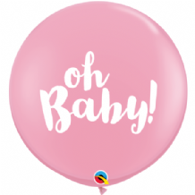 3ft Giant Balloons - Oh Baby! Pink 3ft Balloons 1pc
